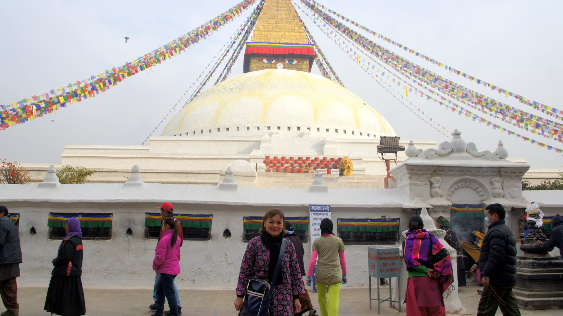 Devant stupa Bodnath Kathmandou Nepal