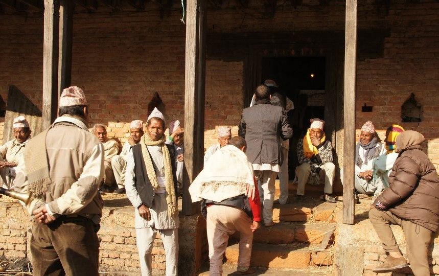 Groupe d'hommes Khokana Nepal