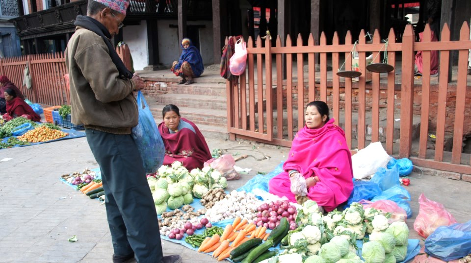 Marchande légumes Kathmandou Népal