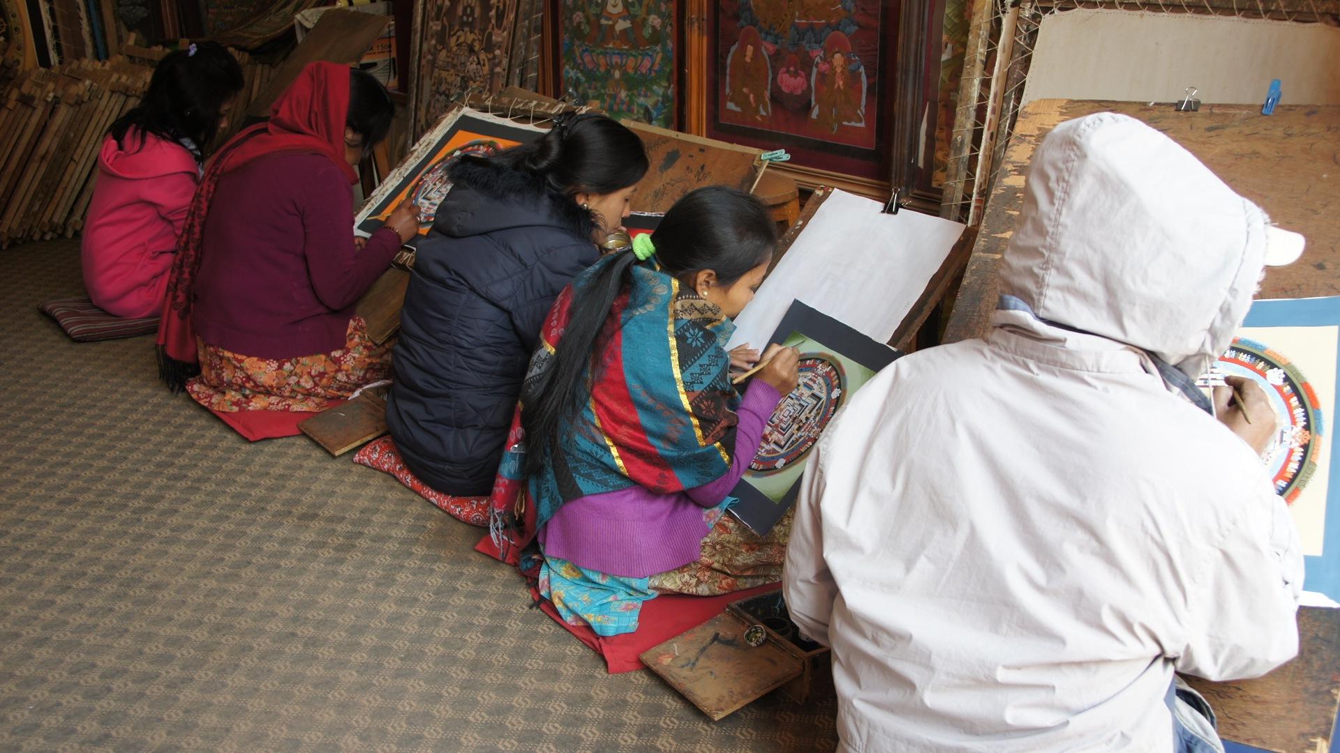 Peintres Mandalas Bhaktapur Népal