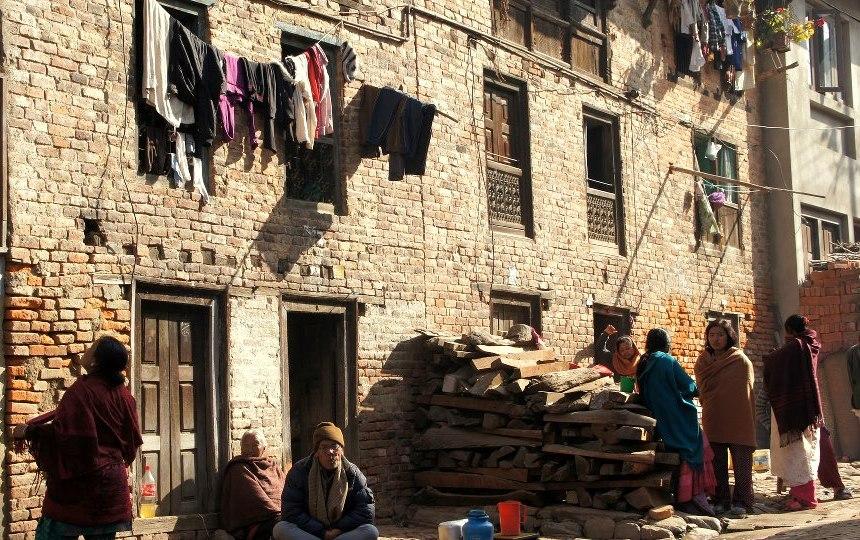 Villageois dans les rues Khokana Nepal