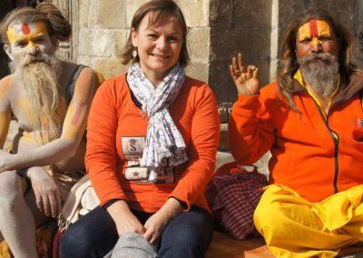 Avec des saddhus Népal