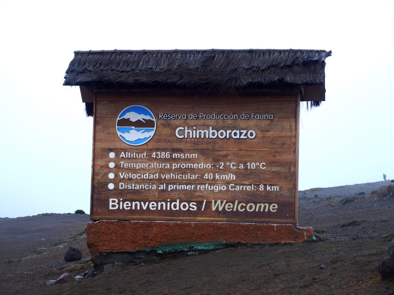 Entrée parc national volcan Chimborazo Equateur