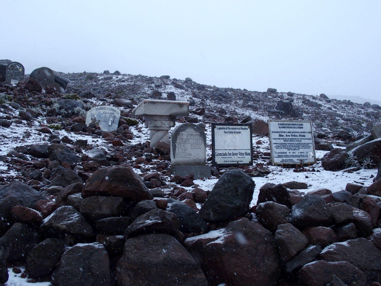 Tombes et mémoriaux sur volcan Chimborazo Equateur