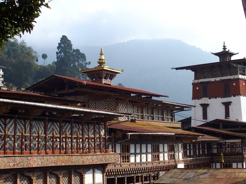 Aile bâtiment dzong Trongsa Bhoutan