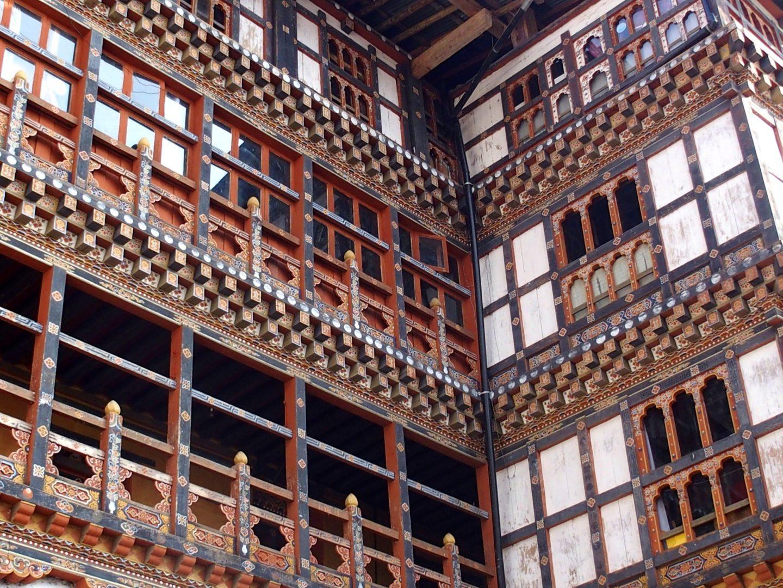 Boiseries peintes dzong Trongsa Bhoutan