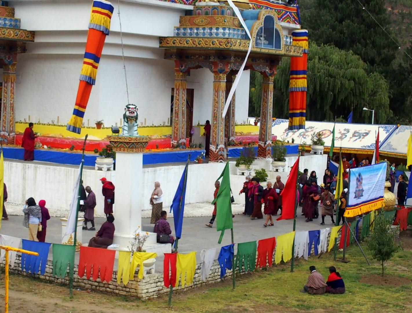 Vue sur le chorten Timphu Bhoutan