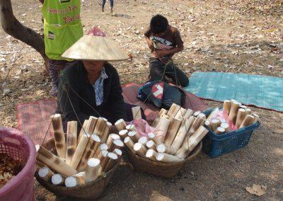 Riz gluant dans bambou marché Laos
