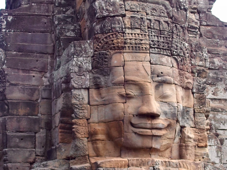 Beau visage souriant Bayon temple d'Angkor Cambodge