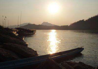 Coucher de soleil sur le Mékong Laos
