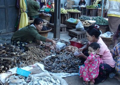 Devant étal poissons fumés marché Birmanie