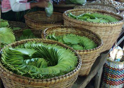 Feuilles de bétel marché Birmanie