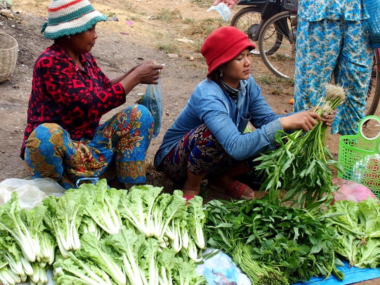 Marchandes légumes marché lac Tonle Sap Cambodge