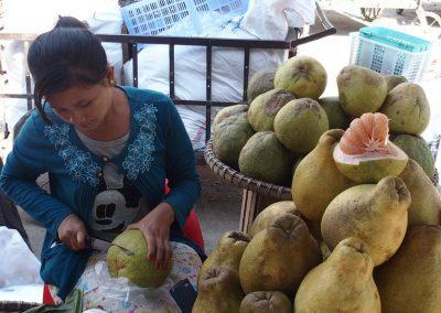 Vendeuse pamplemousses marché Birmanie