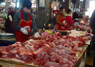 Marché viande Cambodge