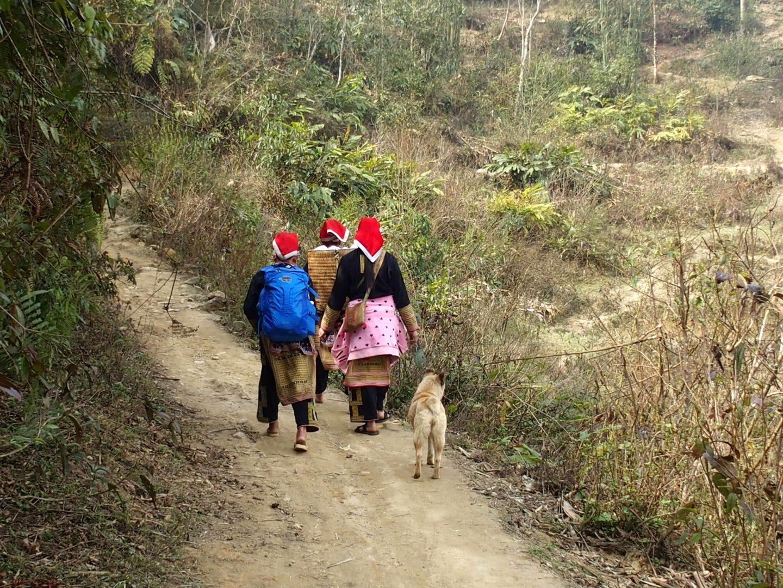 Marche vers Sapa avec famille et chien Ta Phin Vietnam