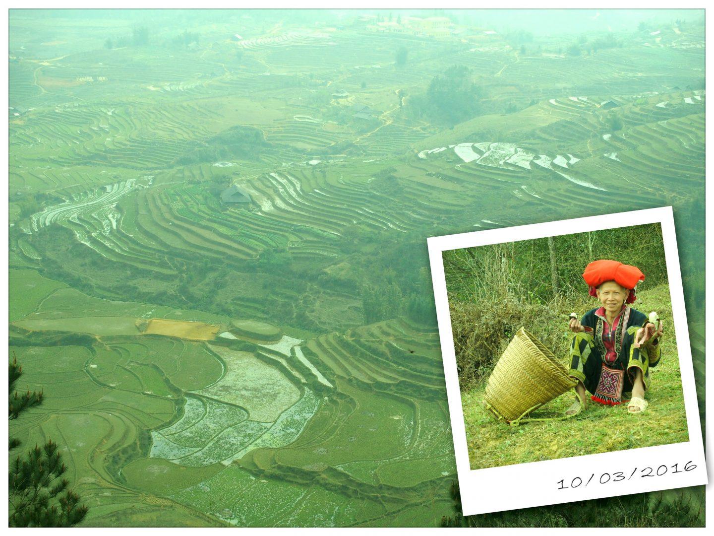 Pause face aux rizières avec guide ethnie Dao Ta Phin Vietnam