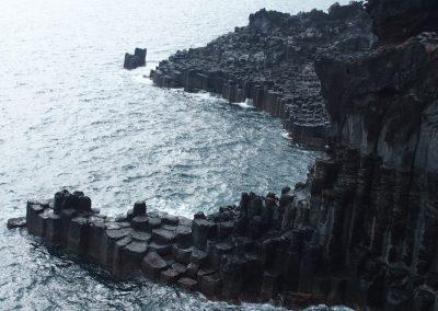 Falaise lave volcanique île de Jeju Corée du sud