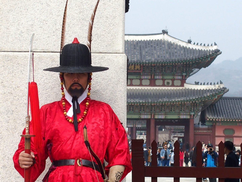 Garde rouge Palais royal Seoul Corée du sud