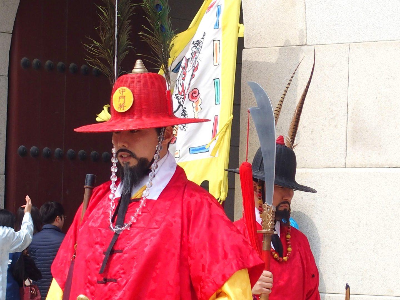 Gardes impressionnants Palais royal Seoul Corée du sud