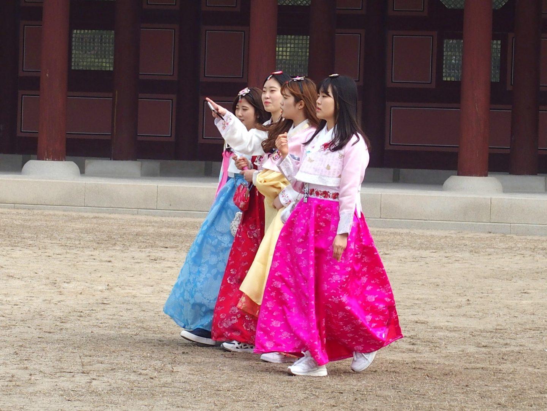 Groupe jolies coréennes Seoul Corée du sud