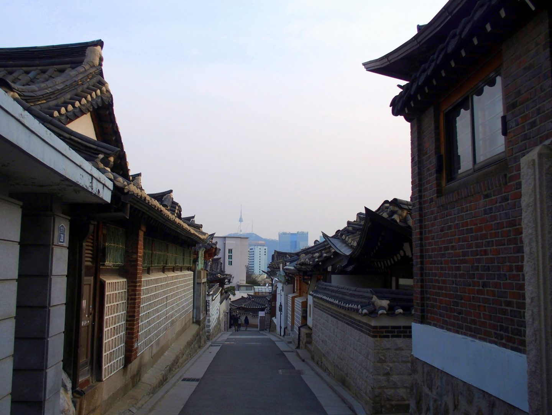 Hanoks, buildings et NTower Seoul Corée du sud