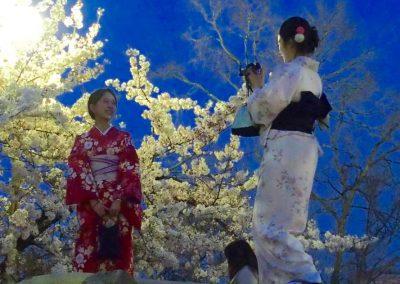 Jeunes filles et fleurs de cerisier Japon