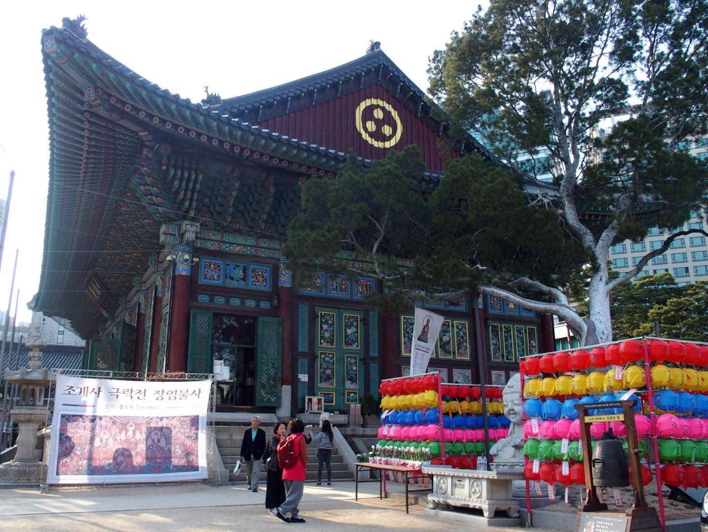 Temple Jogyesa, arbre et lampions Seoul Corée du sud