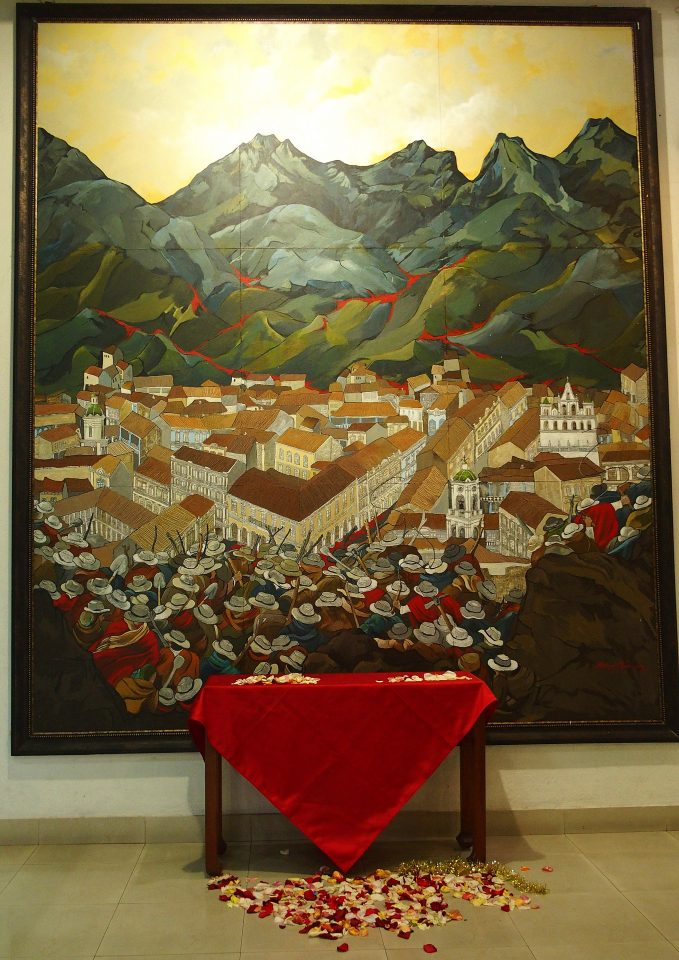 Tableau illustrant une révolte des paysans. Présenté à la Maison du Gouverneur de Cuenca