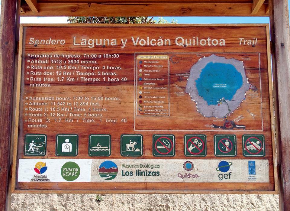 Entrée sur le site de la lagune de Quilotoa Equateur