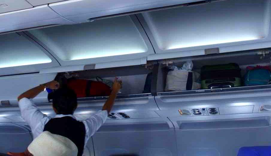 Désinfection de nos bagages dans l'avion
