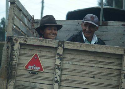 Arrivée au marché de Guamote en pick up Guamote Equateur