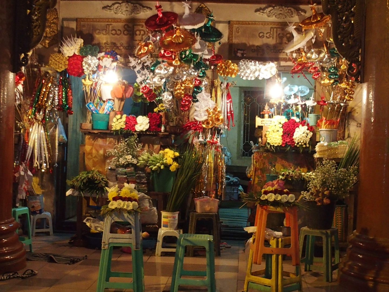 Boutique fleurs Shwedagon Birmanie