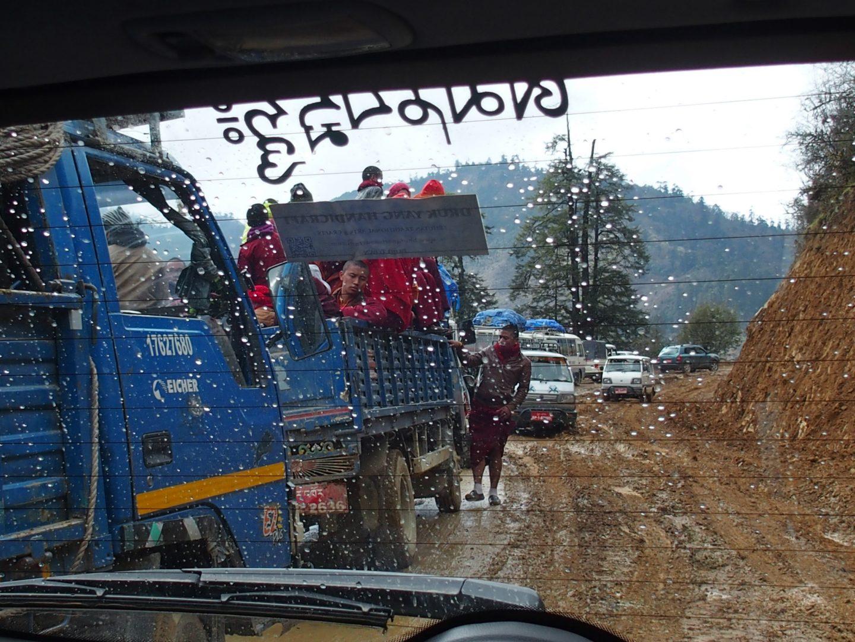 Embouteillage sur route Bhoutan