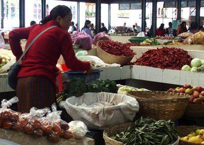 Etal légumes marché Timphu Bhoutan