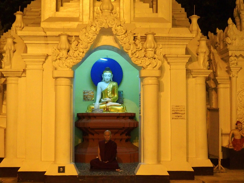 Moine en prière pagode Shwedagon Birmanie