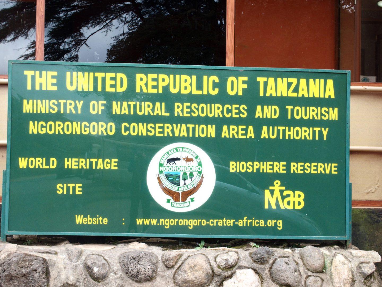 Panneau entrée parc Ngorongoro Tanzanie
