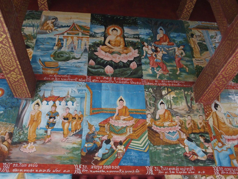Peinture enseignements vie Bouddha Laos