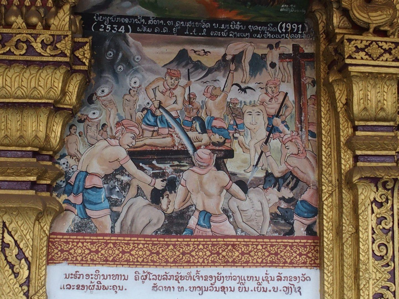 Punition divine sur peinture murale monastère Laos