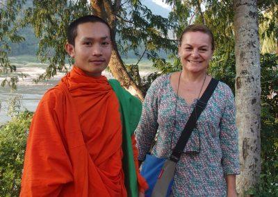 Retour de balade avec le moine Phone Laos