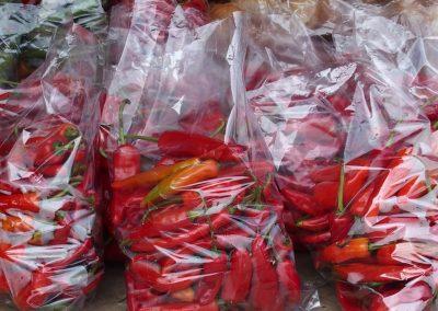 Sacs de piments marché Timphu Bhoutan