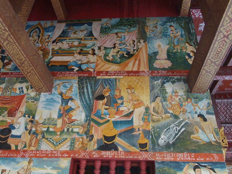 Scènes de vie de Bouddha Peinture Laos