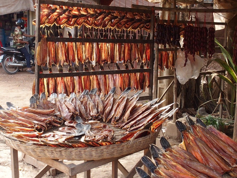 Vente de poissons marché Tonle Sap Cambodge