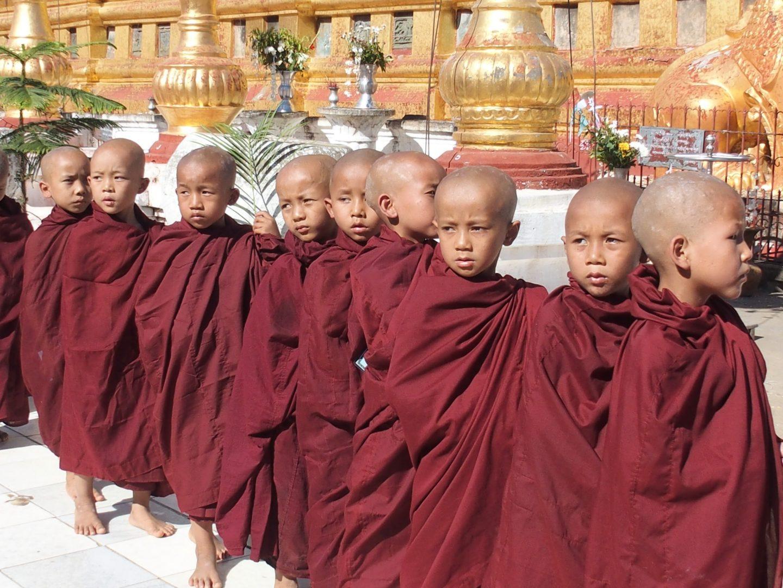 Moinillons en défilé pagode Shwezigon Bagan Birmanie