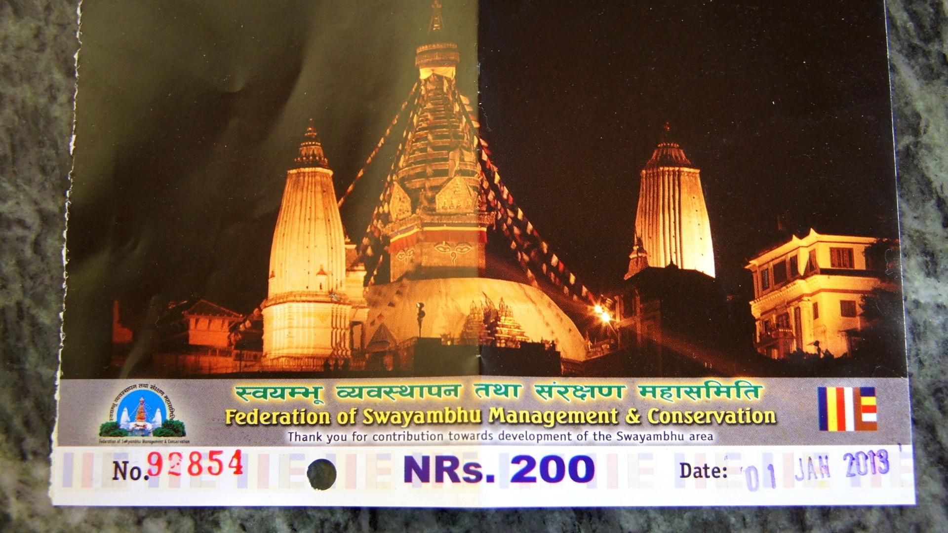 Billet entrée Swayambhunath Népal