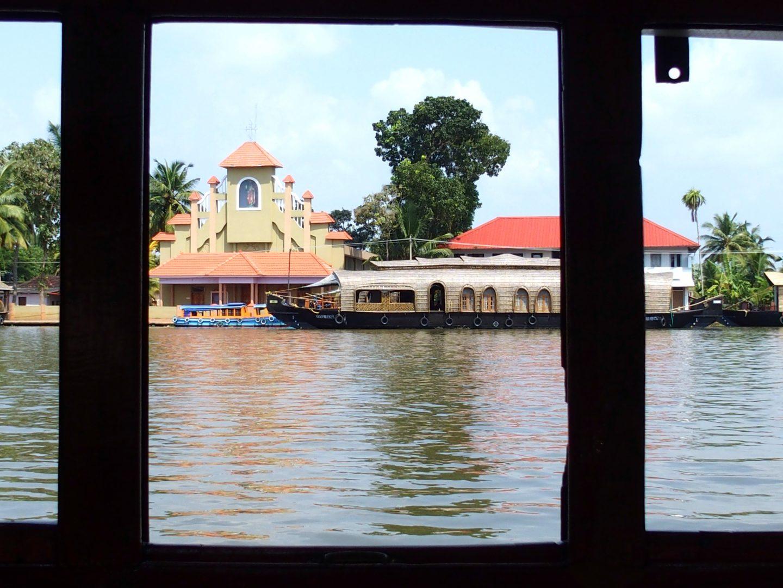 Début de balade sur le houseboat Allepey Kerala Inde