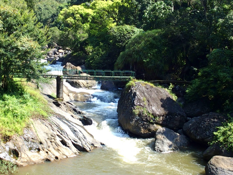 Passerelle sur cascade Kerala Inde