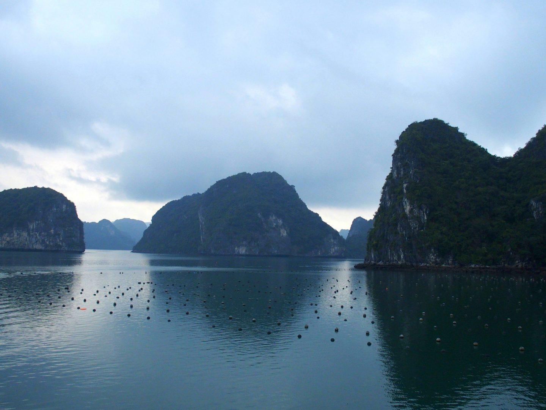 Filets de pêche en baie d'Halong Vietnam