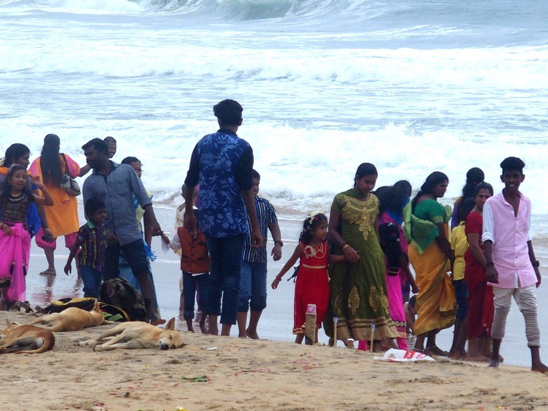 Balade familiale plage Varkala Inde