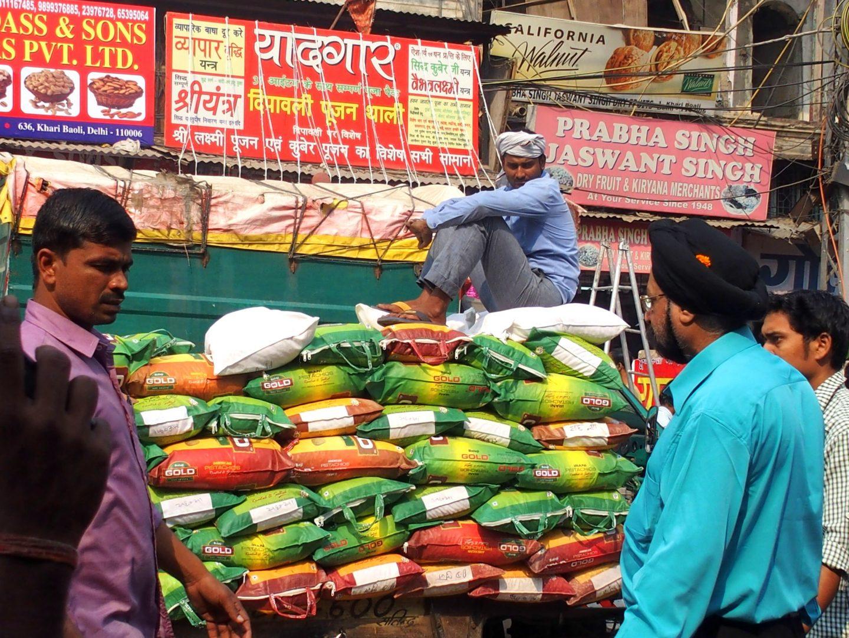 Coincés dans un embouteillage Old Delhi Inde